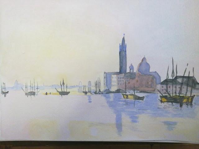 Acuarela de una vista de Venecia