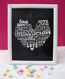 Free Printable Love Word Art at artsyfartsymama.com #freeprintable #Valentine