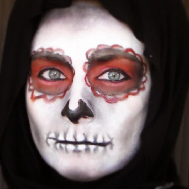 caracterización, calavera, maquillaje halloween, rojo, negro