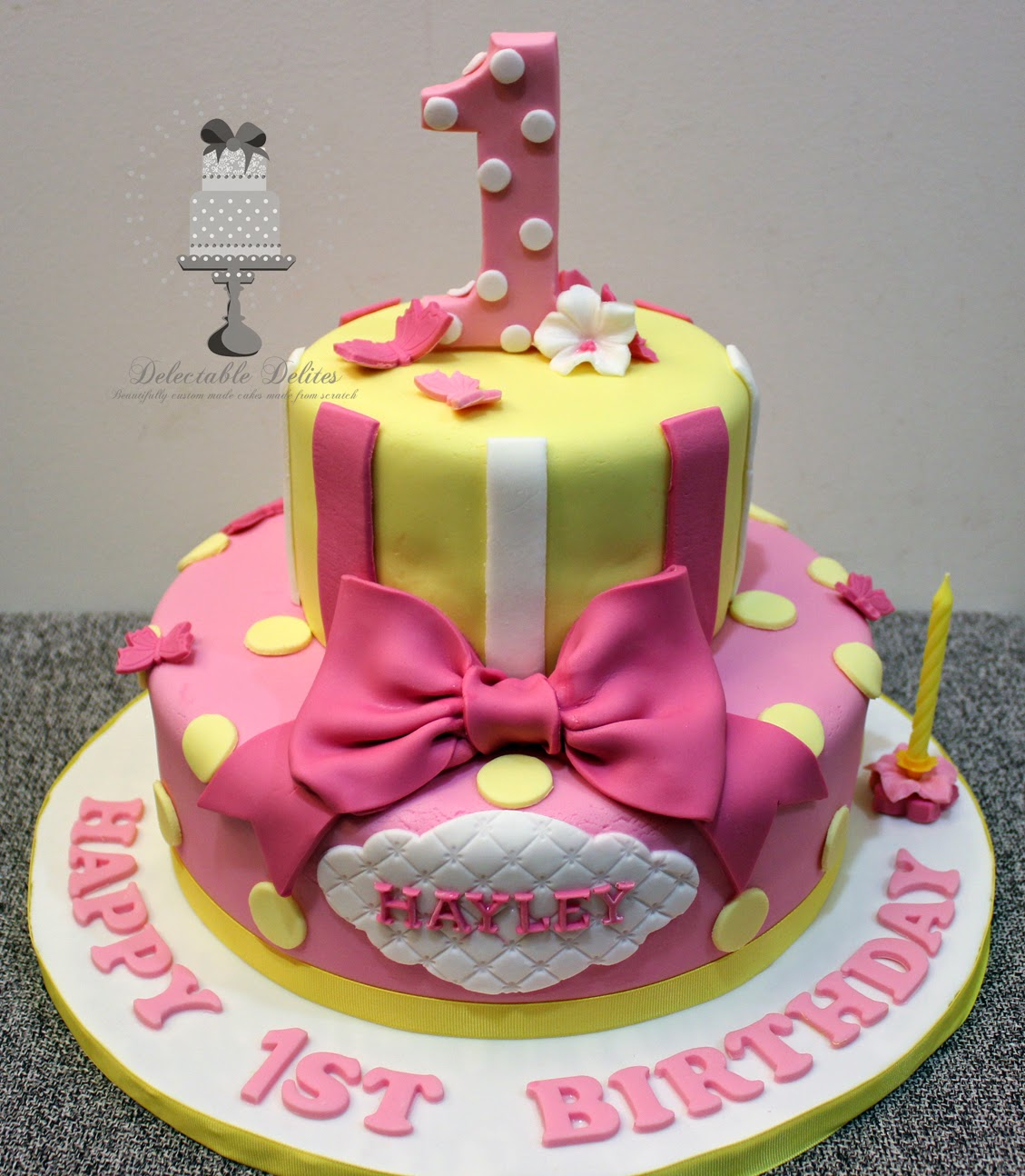 Delectable Delites Pink Yellow Theme Cake For Hayleys 1st Birthday