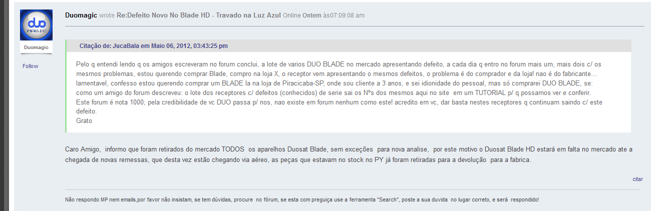 NOTICIA POSTADA NO FURUM OFICIAL DUOSAT