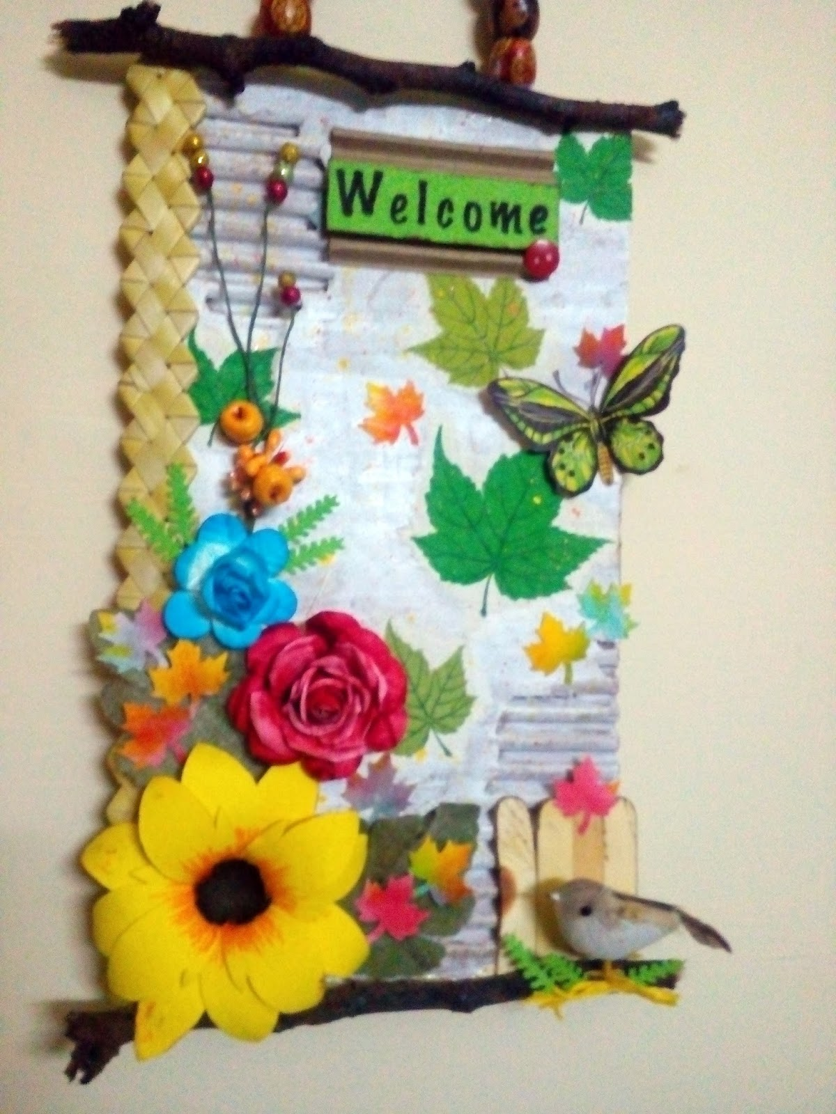 Shining colours handmade crafts welcome wall hanging for Art craft wall hanging