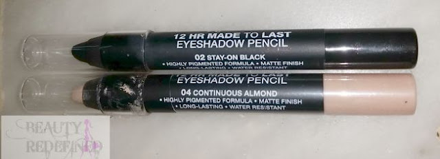 "Jordana 12 HR Made to Last Eyeshadow Pencils |Continuous Almond"" and ""Stay on Black"