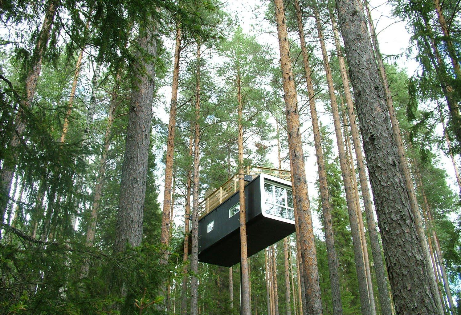 Descubre tu mundo treehotel suecia el curioso hotel con for Hotel con casas colgadas de los arboles