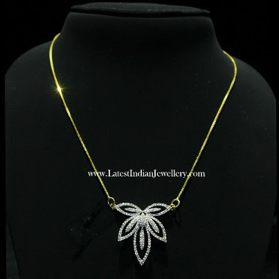 Simple Indian Diamond Pendant Chain