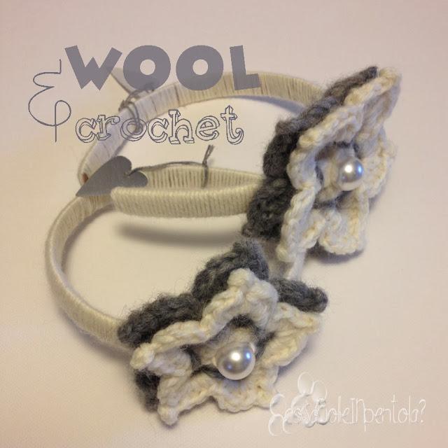 cerchietto bambina con fiori in lana fatto a mano