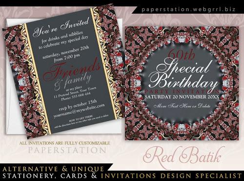 Gothic Wedding Invitations 26 Nice Red Batik Diamond th