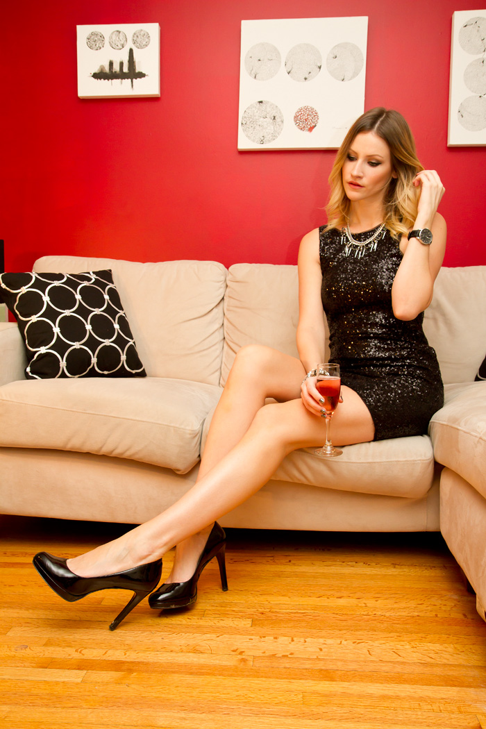Vancouver Fashion Blogger, Alison Hutchinson, wearing a Zara black sequin dress, BCBG patent leather heels, Topshop spike and rhinestone necklace, Kenneth Cole watch and Joe Fresh rhinestone bracelet