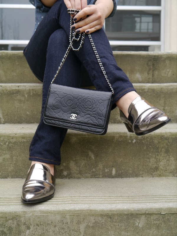 Chanel camellia WOC and 3.1 Phillip Lim metallic silver loafters