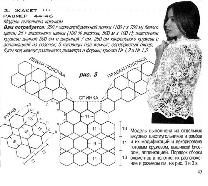 Схема жакета из мотивов крючком схемы и описание