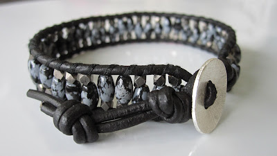 chan luu men bracelet diy craft faceted nuggets snowflake obsidian