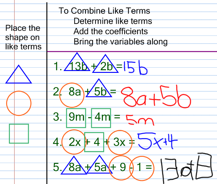 Combining like terms worksheet 6th grade answers
