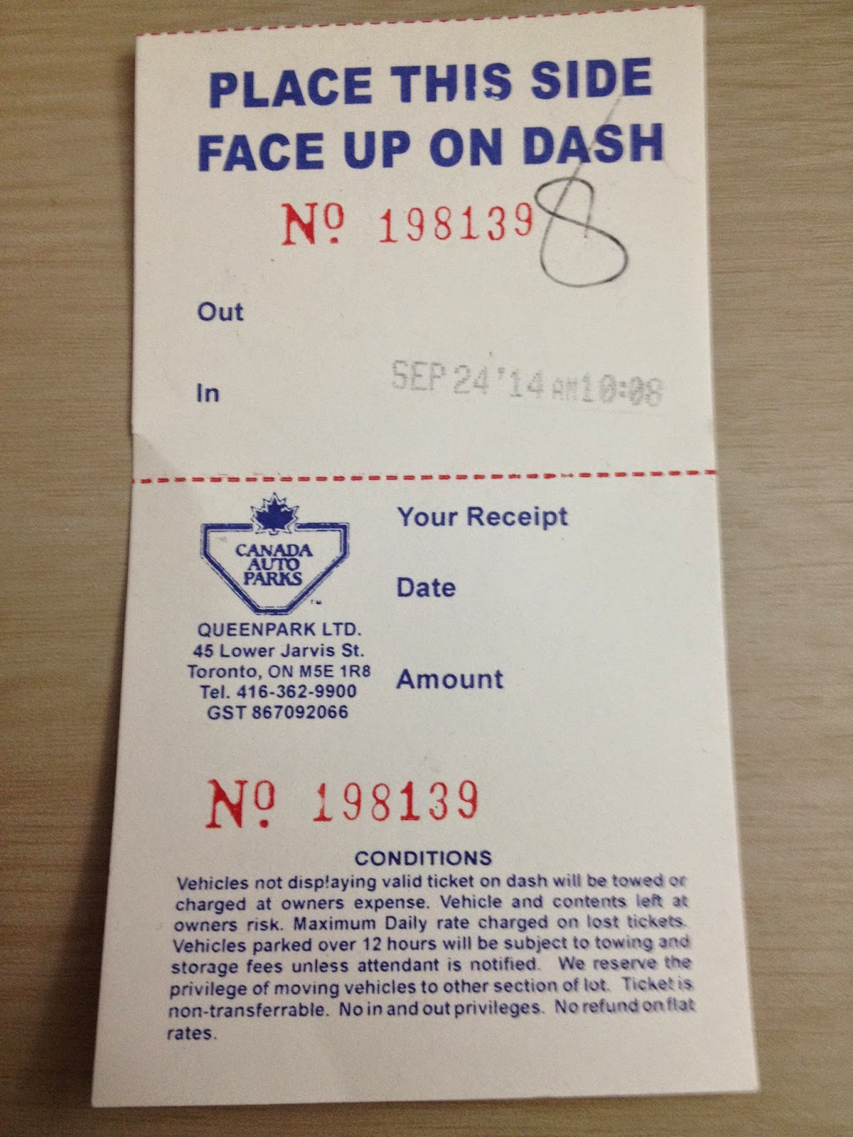 Parking receipt – Canada Auto Parks