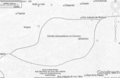 Mapa de CARACAS, capital de VENEZUELA, blanco y negro (google earth,vn)