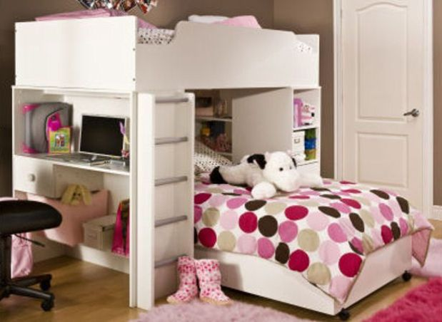 Girl Bedroom Bunk Bed with Desk 619 x 452