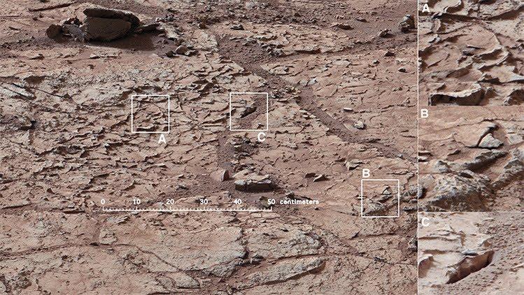 La erosión de Marte se debe a acción del agua.
