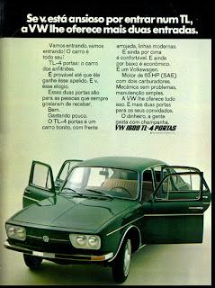 propaganda VW TL - 4 portas - 1971. 1971; brazilian advertising cars in the 70s; os anos 70; história da década de 70; Brazil in the 70s; propaganda carros anos 70; Oswaldo Hernandez;