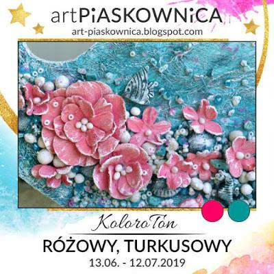 Art-piaskownica - desafío color - rosa y turquesa