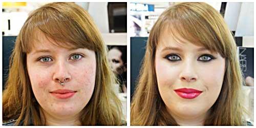 maquillaje rubia labios rojos