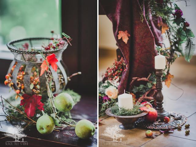 Jesienno zimowe wesele - wystrój stołów weselnych.