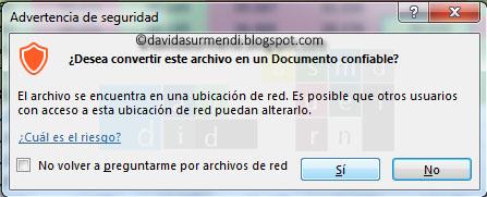 Convertir en confiable un archivo situado en la red