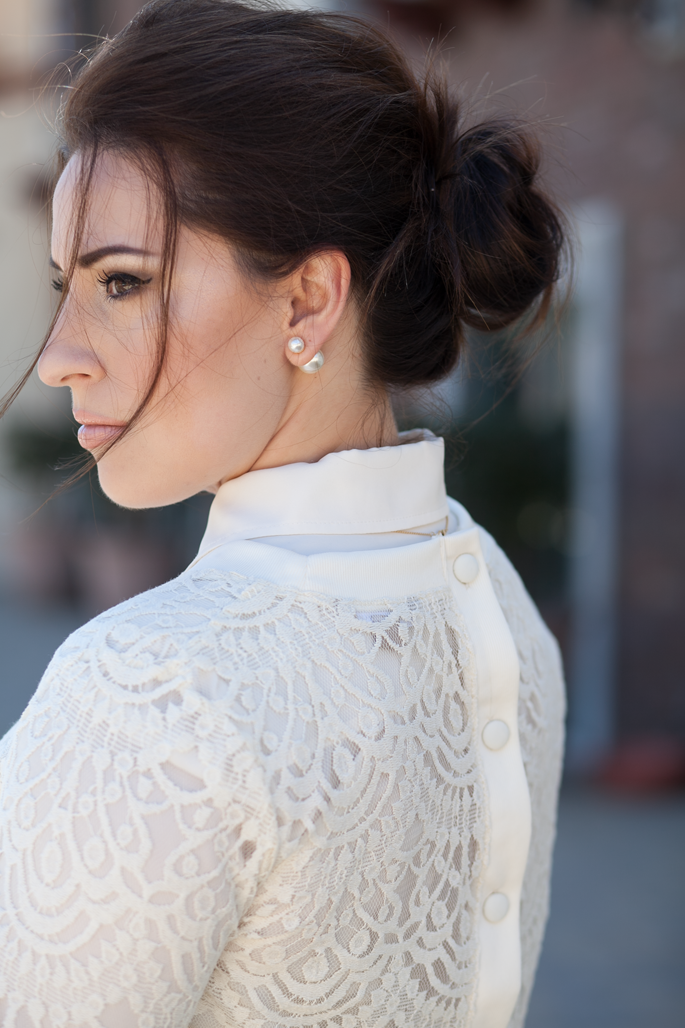 romantic updo, baublebar 360 pearl stud earrings