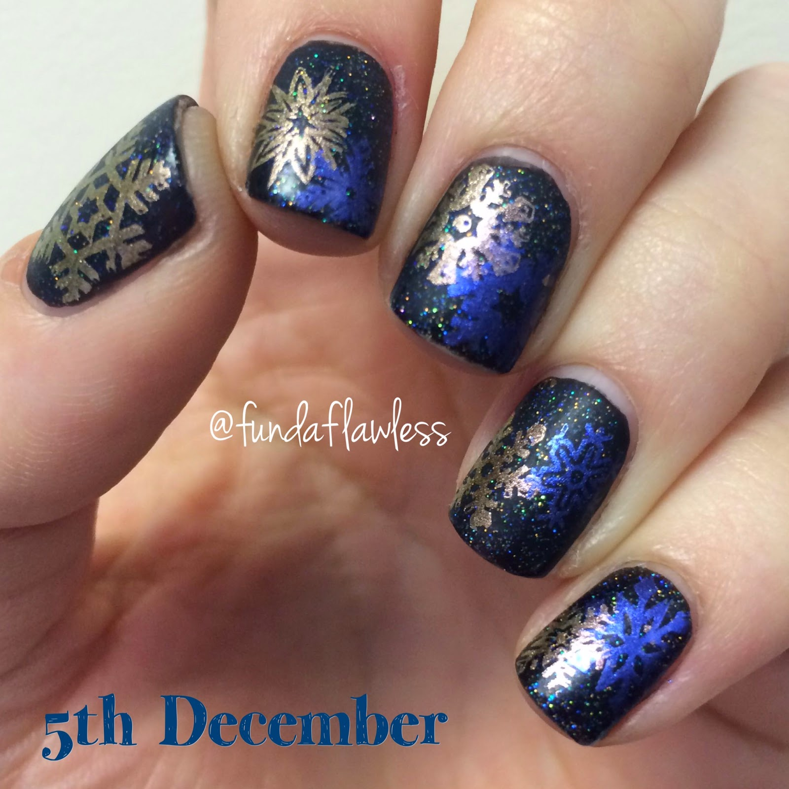 Snowflakes MoYou Festive Collection Nail Art
