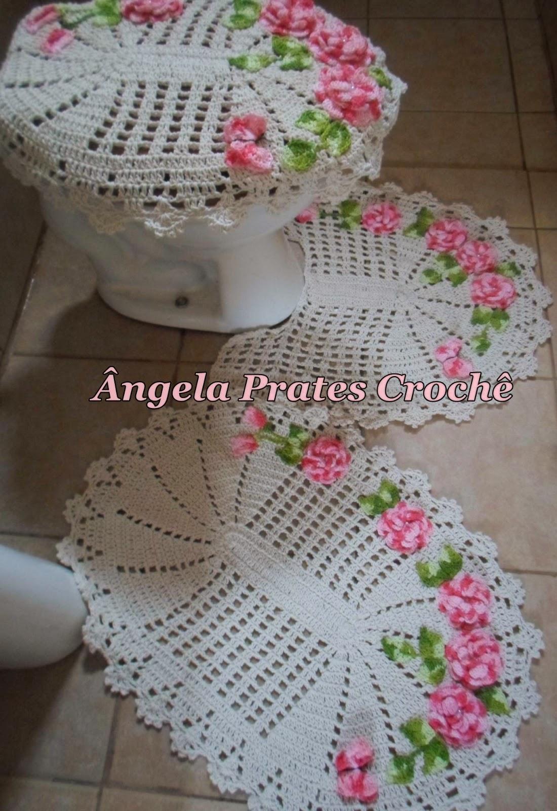 Jogo de banheiro flor viciadas em crochê rosa #884358 1100 1600