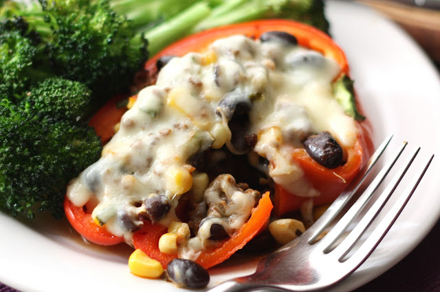 Spicy Mexican Stuffed Bell Peppers recipe by Barefeet In The Kitchen
