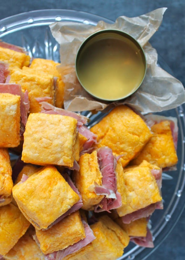 ... : [Mini!] Sweet Potato Ham Biscuits & Maple Mustard Dipping Sauce