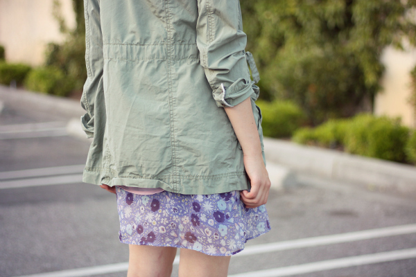 floral outfit and cargo jacket