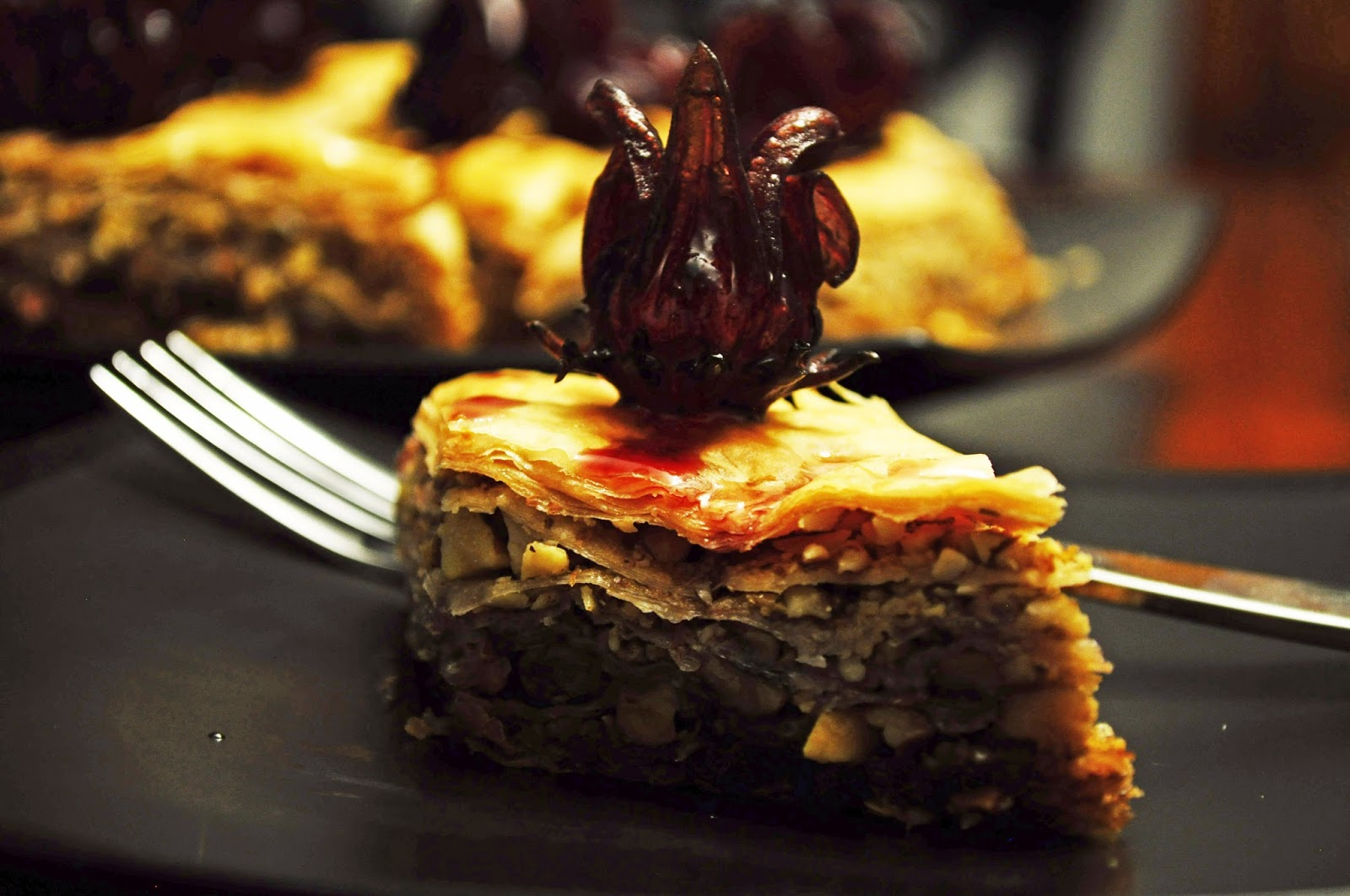 37 cooks january 2016 the wild hibiscus flowers in syrup are a show stopper and tasty too this is a basic baklava recipe with the addition of wild hibiscus syrup and garnished dhlflorist Choice Image