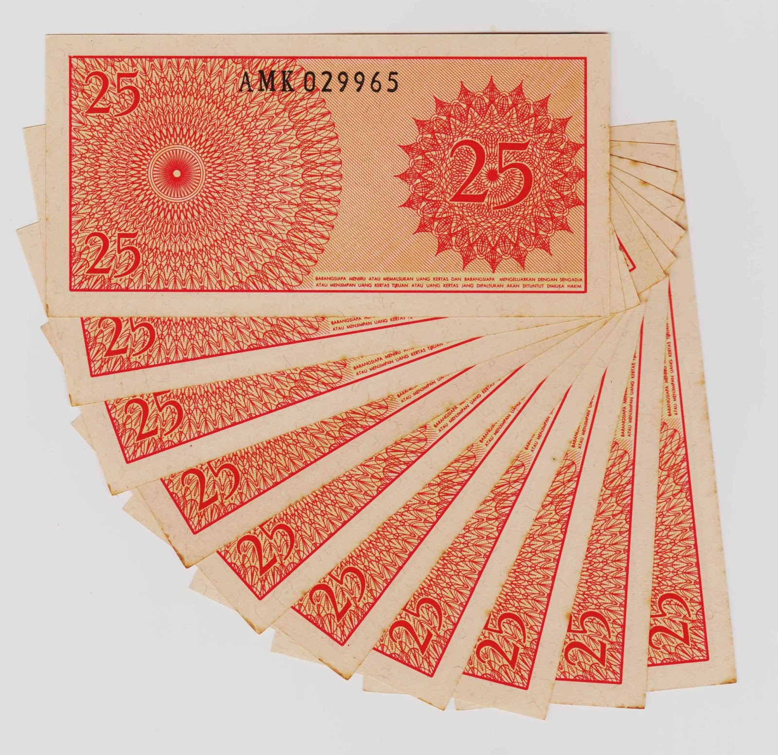 uang kuno Seri Sukarelawan tahun 1968 pecahan 25 sen