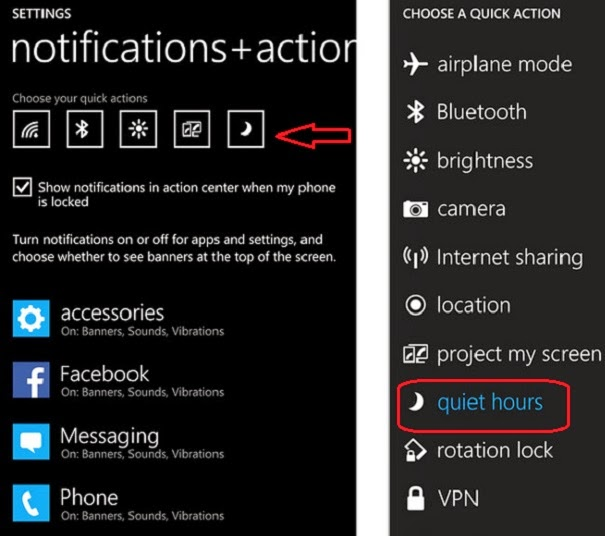 Activating Quiet Hours Manually on Windows Phone 8.1 by Creating a Quick Action Shortcut