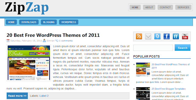Zip Zap - Professional Magazine Blogger Template