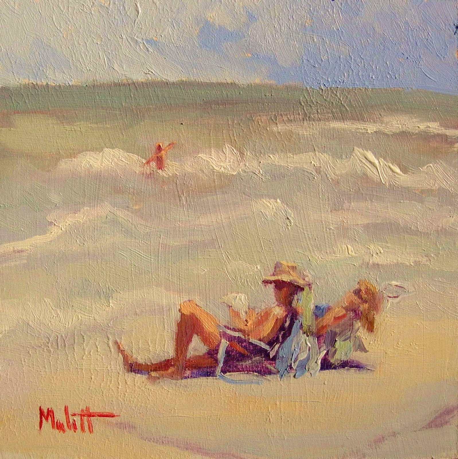 Beach chairs on the beach painting - Beach Figures Lounge Chairs Beach Bum Daily Oil Painting