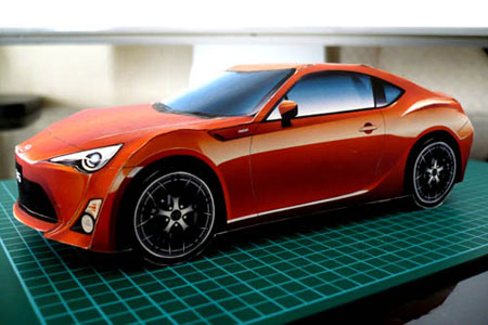 Papercraft imprimible y armable del Toyota 86. Manualidades a Raudales.