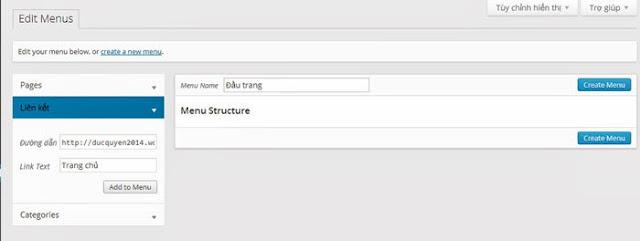 Hướng dẫn cài đặt menu trong blog wordpress
