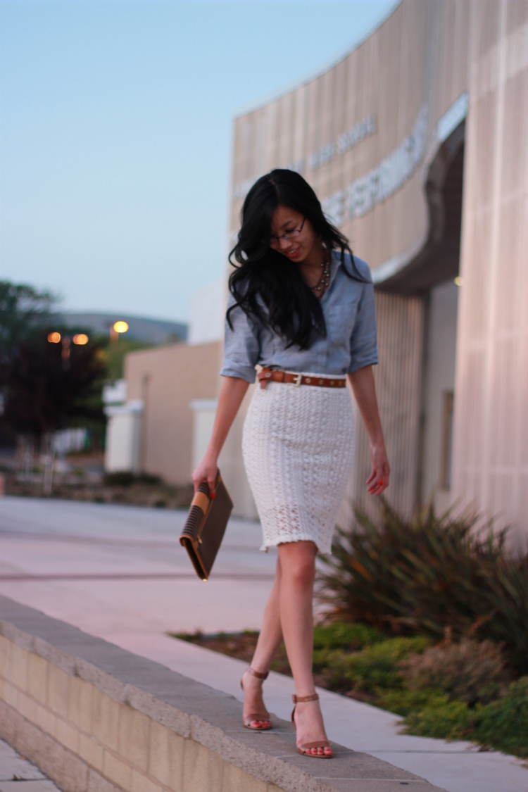 chambray shirt crochet skirt outfit lace vintage fendi