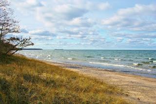 Beach at Point Iroquois Lighthouse, Bay Mills, MI