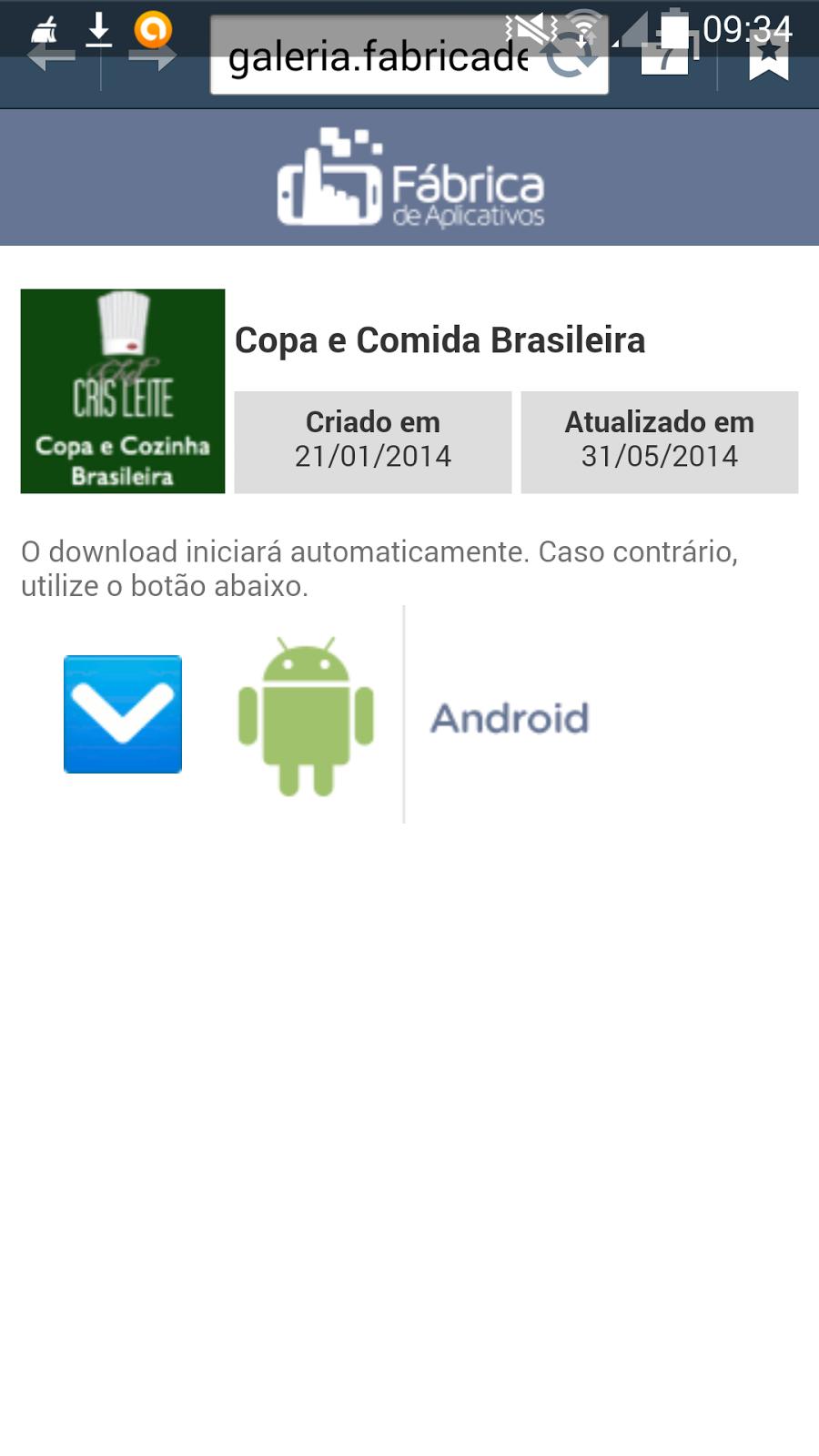 App Copa e Comida Brasileira - Chef Cris Leite