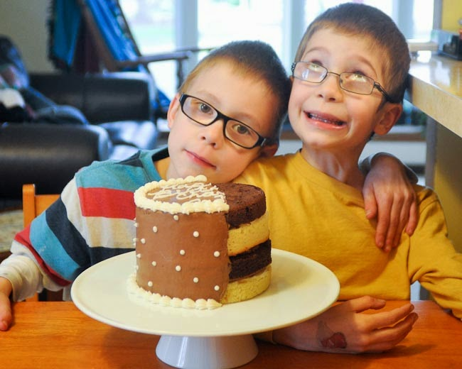 half-iced half-birthday cake