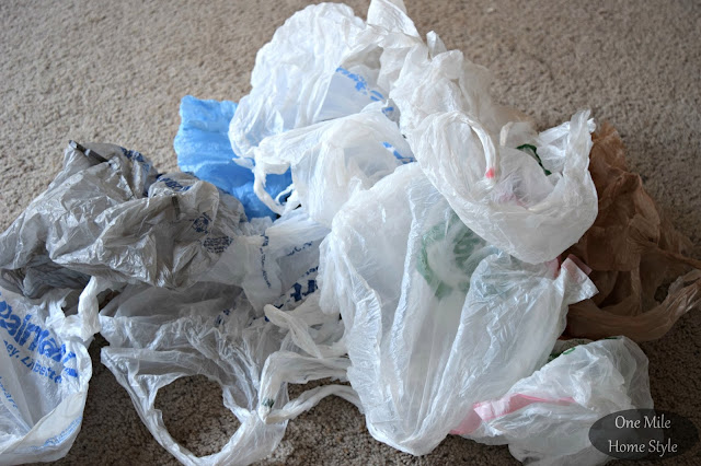 Plastic grocery bags to use to as stuffing for a pouf - One Mile Home Style