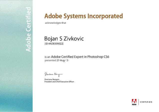 Contact Bojan Živković Certified Expert on Adobe Photoshop ID #ADB309022