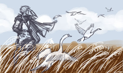 lsquo;Tuor and the Swans' concept sketch by Jenny Dolfen
