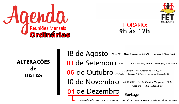 Agenda - 2º Semestre 2018