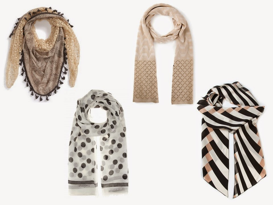 4 patterned scarves, in black, beige and white