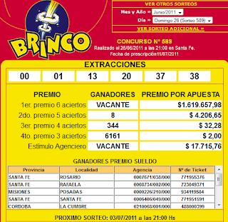 Resultados Brinco SORTEO 589, 26 Junio 2011
