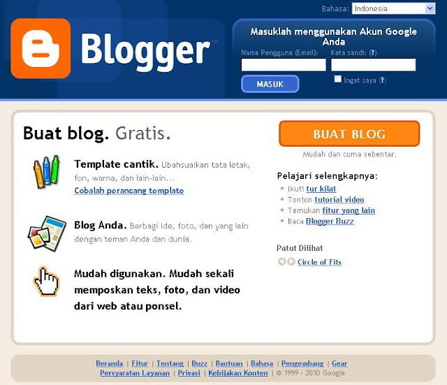 MENGAPA ANDA MEMILIH BLOGGER? Buat Blog Gratis Di Blogger atau Blogspot