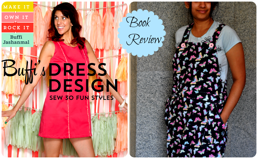 Jumper dress pinafore dress style with straps waistband and pockets made from cotton printed fabric Buffi dress design book review storey publishing